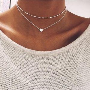 Silver Double Choker Heart Necklace